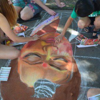 Chalk Artists on sidewalk