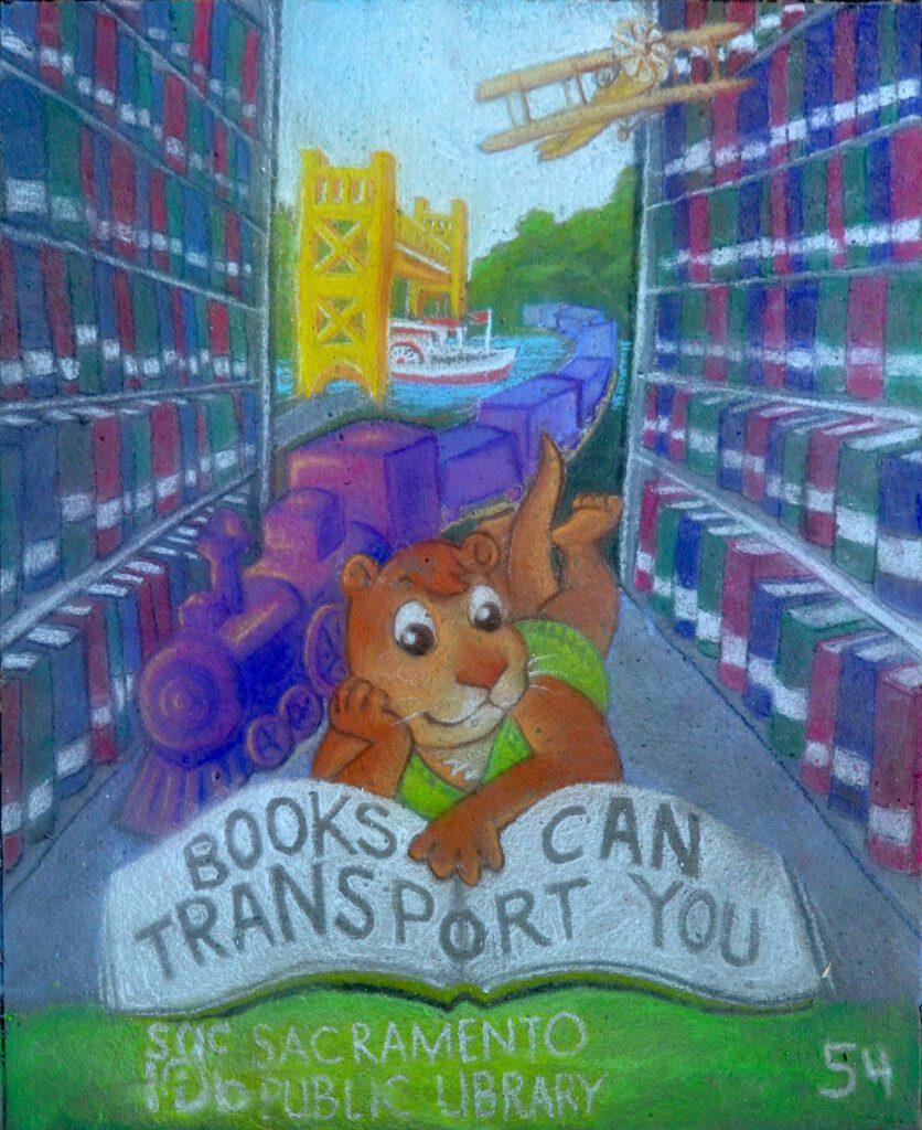 books chalk art