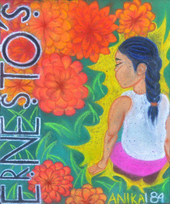 chalk art girl